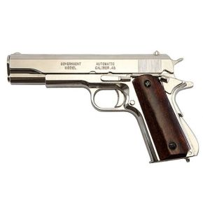 Replica M1911A1 Nickel Finish Wood Gripped Government Automatic Pistol Non-Firing Gun