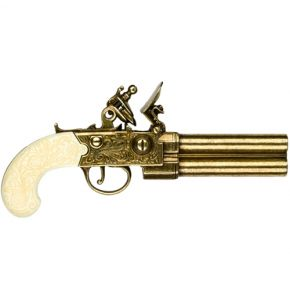 Colonial Double Barrel Flintlock Gold & Ivory Non-Firing Gun Replica