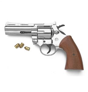 Magnum 9mm Nickel Revolver Top-Firing Blank Gun
