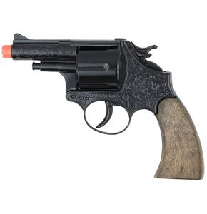 Police Style 12 Shot Black Finish Cap Revolver