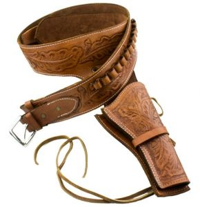 Deluxe Tooled Tan Leather Western Holster - XL