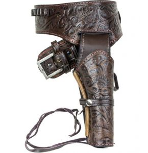 Deluxe Tooled Antiqued Brown Leather Western Holster - LG