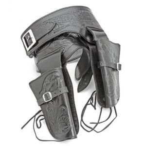 Double Tooled Black Leather Western Holster - LG