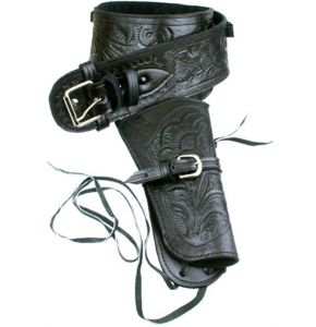 Single Tooled Black Leather Western Holster - XL