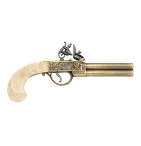 Duel Barrel Flintlock Gold Ivory Non-Fire Replica
