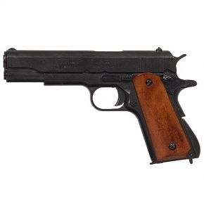 M1911A1 Black Gov. Auto Non-Firing Pistol Replica w Dark Wood Grips