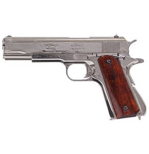 M1911A1 Nickel Gov. Auto Non-Firing Pistol Replica w Wood Grips