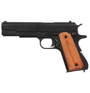 M1911A1 Black Gov. Auto Non-Firing Pistol Replica w Light Wood Grips