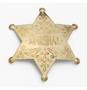 Antiqued Brass Marshal Badge Replica