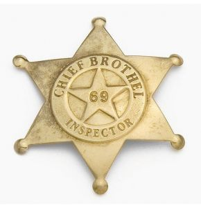 Brass Antiqued Brothel Inspector Badge