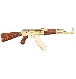 AK 47 Gold Assault Rifle Non-Firing Replica