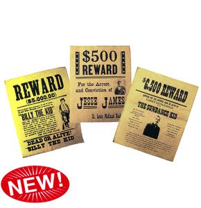 Wanted Billy the Kid, Jesse James, Sundance Kid